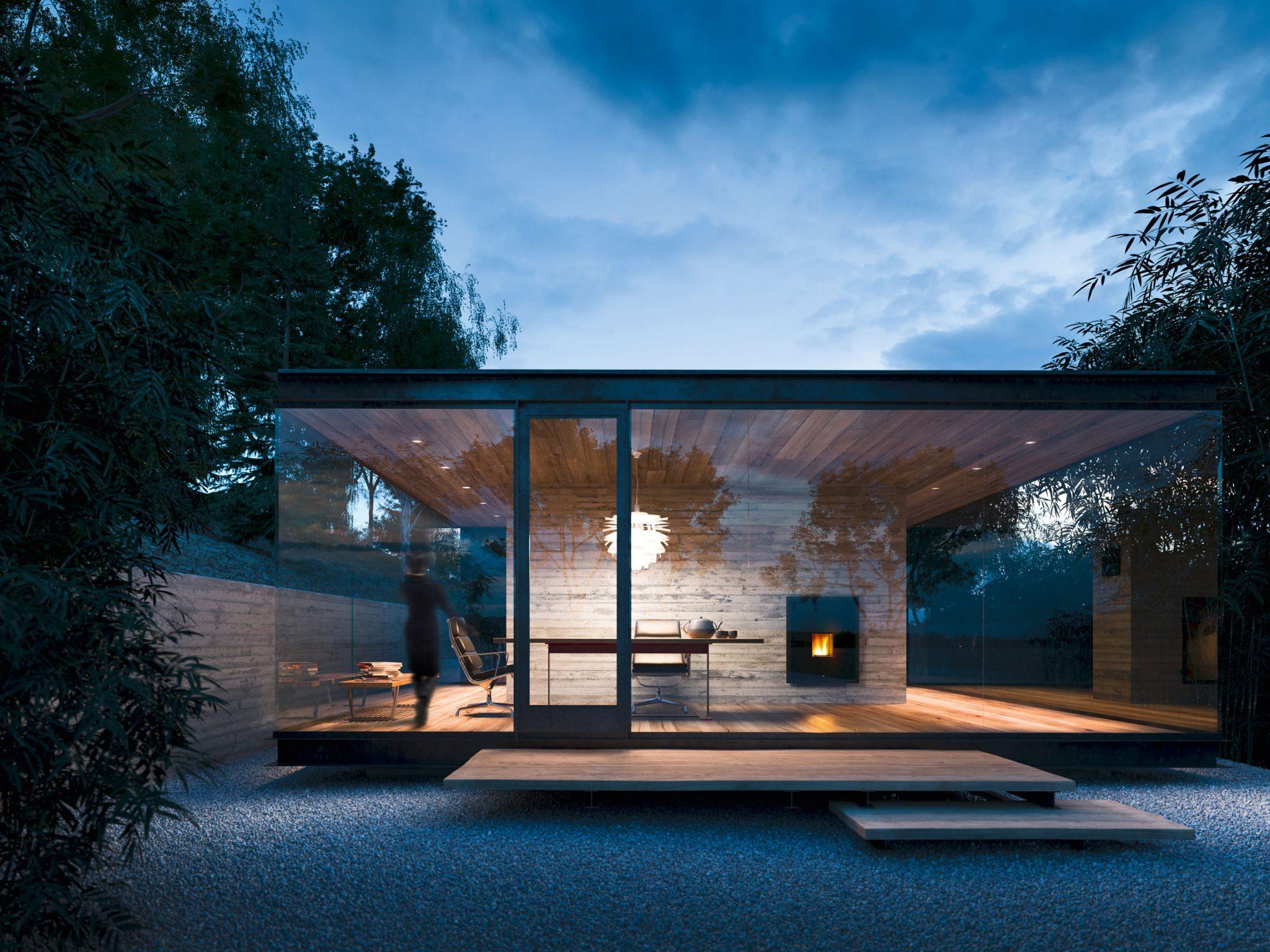 Glashaus mit Kaminofen
