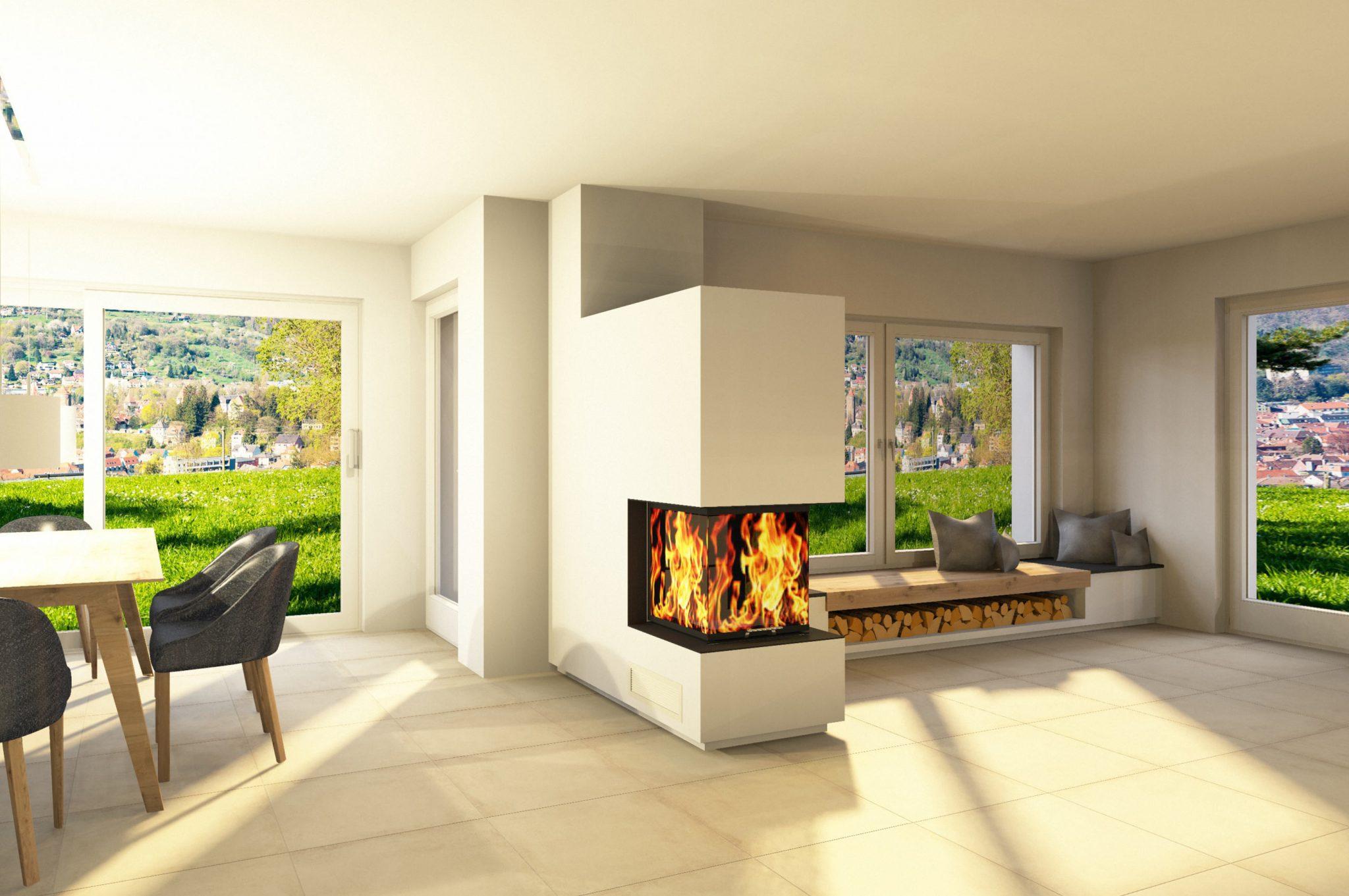 Wohnzimmer mit Kaminofen virtuell erstellt